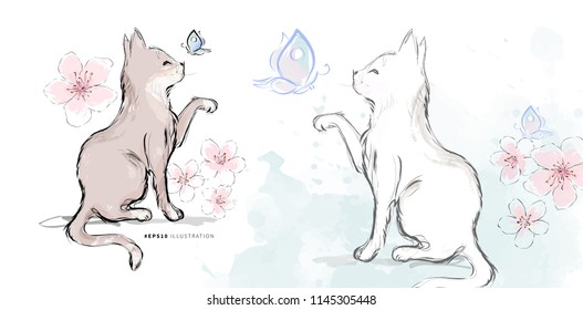 Brown kitten and white domestic cat catching butterfly on blossom flowers watercolor background in chinese style hand drawn vector illustration.