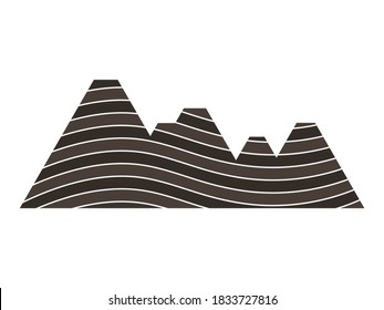Brown layered rock mountain illustration. Folding sedimentary structure. Anticline and syncline.