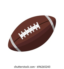 Brown leather ball for American football isolated illustration