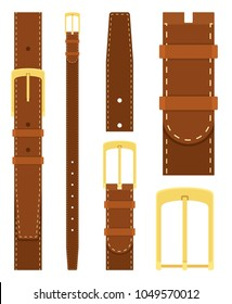 Brown leather belt with gold buckle isolated on white background. Element of clothing design. Belt trouser in flat style. Vector illustration
