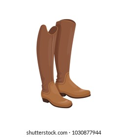 Brown leather horseman boots, equestrian professional sport element vector Illustration