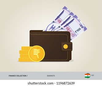 Brown leather wallet with 100 Indian Rupee Banknote and coins. Flat style vector illustration. Business concept.