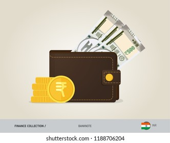 Brown leather wallet with 500 Indian Rupee Banknote and coins. Flat style vector illustration. Business concept.