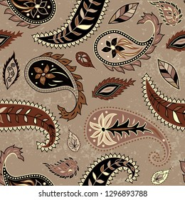 Brown leaves background. with a grunge effect. Seamless pattern in indian style. Texture of fabric.
