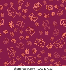 Brown line Delete envelope icon isolated seamless pattern on red background. Delete or error letter. Cross on message. Rejected mail.  Vector Illustration