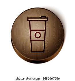 Brown line Paper glass and water icon isolated on white background. Soda drink glass. Fresh cold beverage symbol. Wooden circle button. Vector Illustration
