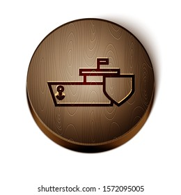 Brown line Ship with shield icon isolated on white background. Insurance concept. Security, safety, protection, protect concept. Wooden circle button. Vector Illustration