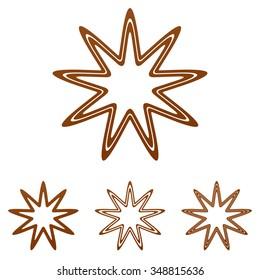 Brown line star icon logo design set