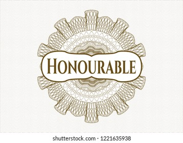 Brown linear rosette with text Honourable inside