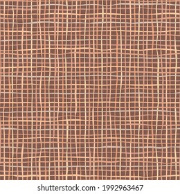 Brown linen or jute texture. Seamless pattern of textile. Repeating linen texture in dark colors. Nice for fabric, wrapping, scrapbooking or wallpaper.