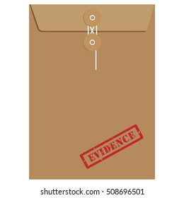 Brown long postal envelope template with red rubber stamp evidence. Envelope sealed with string.