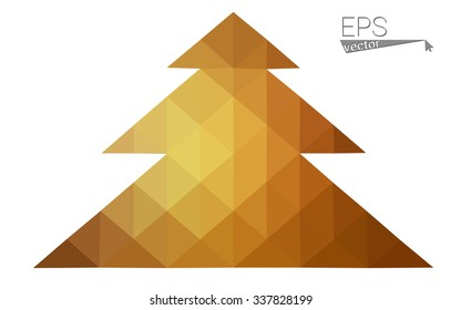 Brown low polygon style christmas tree vector illustration consisting of triangles . Abstract triangular polygonal origami or crystal design of New Years celebration. Isolated on white background.