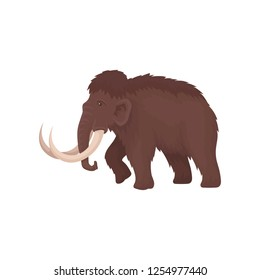 Brown mammoth with big tusks. Large extinct animal from ice age. Prehistoric mammal creature. Flat vector design