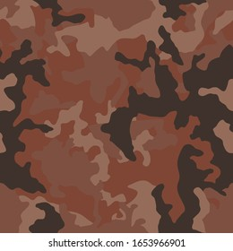 Brown martian camouflage seamless pattern. Modern military camo texture. Desert masking color. Stock vector illustration.