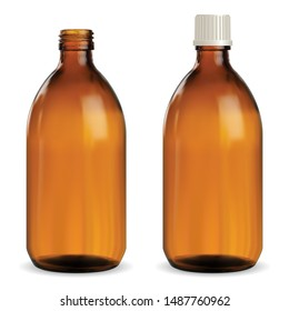Brown Medical Bottle. Amber Glass Vial. Syrup Jar. Realistic Pharmaceutical Container Blank Illustration for Liquid Vitamin or medicament. Essential Packaging Template with Screw Cap for Antiseptic