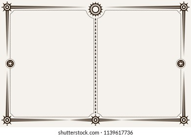 Brown Minimalistic Landscape Orientation Border or Frame with Blank Space. Template