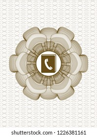 Brown money style rosette with phonebook icon inside
