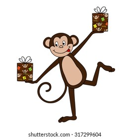 brown monkey with gift boxes