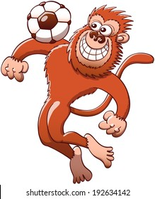 Brown monkey jumping high to trap the soccer ball with its chest with great style and agility while staring at the ball and grinning mischievously
