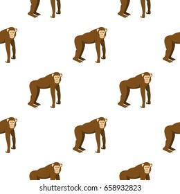 Brown monkey standing on its four legs pattern seamless for any design vector illustration