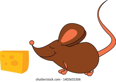 A brown mouse in ecstasy smiles about the thought of enjoying the yummy cheese close to it over white background viewed from the side, vector, color drawing or illustration.