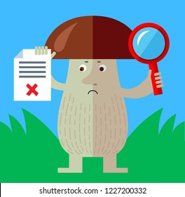 Brown mushroom with magnifier glass holding checklist with X sign. Unsuccessful searching. Flat style vector illustration. Funny cartoon character , forest mushroom, wild cep, fungus
