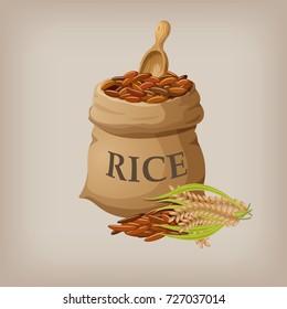 Brown natural long rice in small burlap sack. Vector illustration