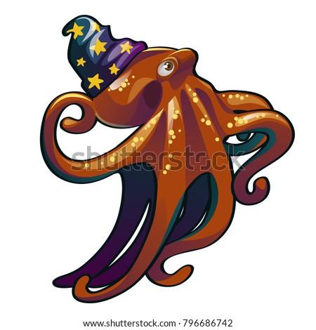 Brown Octopus Hat Wizard Inhabitants Seas Image Vectorielle De Stock