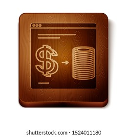 Brown Online casino chips exchange on stacks of dollars icon isolated on white background. Wooden square button. Vector Illustration