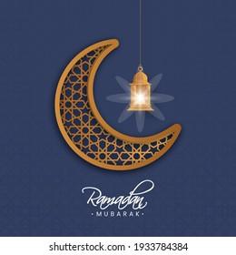 Brown Ornament Crescent Moon With Illuminated Lantern Hang On Blue Islamic Pattern Background For Ramadan Mubarak Concept.