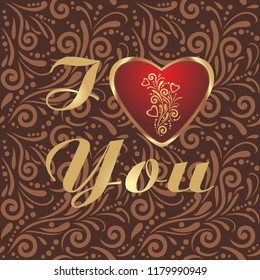 Brown ornamental pattern with shining heart to the valentines day. Vector