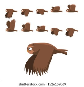 Brown Owl Flying Animation Sequence Cartoon Vector