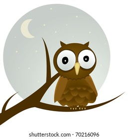 A brown owl sits in a tree with the stars and moon in the background.