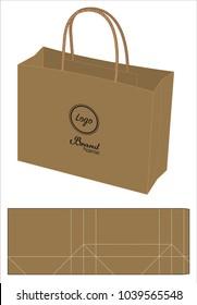 brown paper bag die-cut template mock up 3d