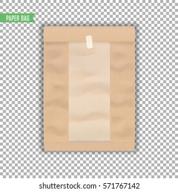 Brown paper bag template with plastic insert on transparent background. Isolated. Vector illustration.