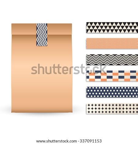 brown paper bag template scrapbook tape stock vector royalty free