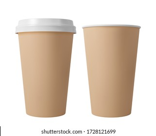 Brown paper coffee cup with lid. Open and closed paper cup. Realistic vector mockup