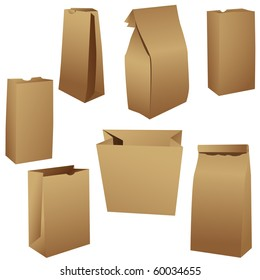 Brown paper lunch bags set vector