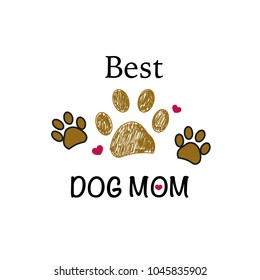 Brown paw print with hearts. Best dog mom. Happy Mother's Day background