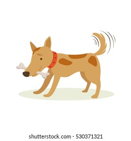 Brown Pet Dog Carrying Bone In Teeth, Animal Emotion Cartoon Illustration
