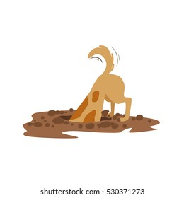 Brown Pet Dog Digging The Dirt In The Garden, Animal Emotion Cartoon Illustration