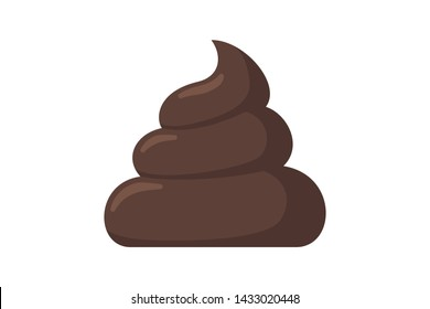 Brown piece of shit. Cartoon poop icon. Feces vector emblem illustration