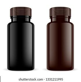Brown Pill Bottle. Amber Plastic 3d Sport Drug Jar. Medical Pills Vial Mockup Template. Sport Supplements Bcaa, Minerals, Omega Drugs Canister. Prescription Medicament Container. Remedy Flacon.