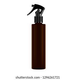 Brown Pistol Trigger Spray Cosmetic Bottle. Perfume Freshener Dropper Aerosol Container. Hair Care Moisturizer Essence Product. Isolated Detergent Package Mockup Template.