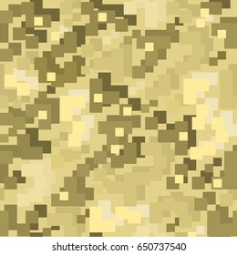 Brown pixel camo seamless pattern. Vector illustration.
