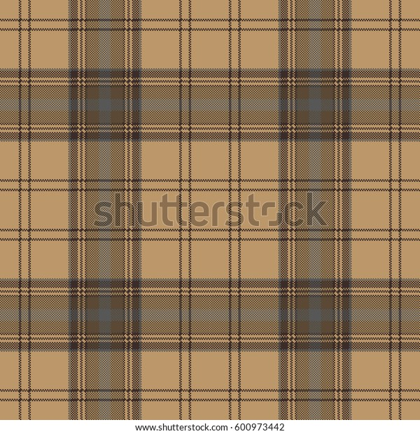 Brown plaid check tartan seamless pattern. Vector illustration.