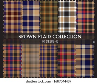 Brown plaid, checkered, tartan seamless pattern collection includes 10 designs suitable for fashion textiles and graphics
