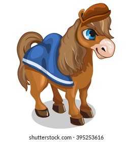 Brown pony from fairy tales. Vector illustration.