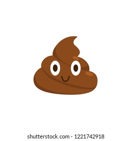 Brown poop emoticon. Cute shit icon. Isolated. vector