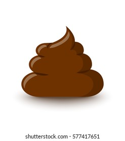 Brown poop icon placed on white background